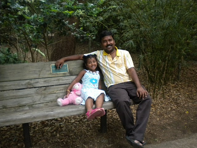 Nivedhana and her Dad relaxing